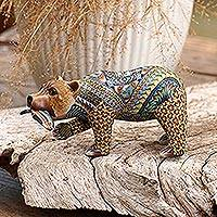 Polymer clay sculpture, 'Successful Grizzly' (3.9 inch) - Colorful Polymer Clay Bear Sculpture (3.9 Inch) from Bali