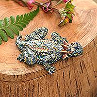 Polymer clay sculpture, 'Horned Lizard' (3.5 inch) - Handcrafted Polymer Clay Lizard Sculpture (3.5 Inch)