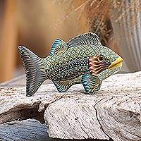Polymer clay sculpture, 'Bali Fish' (3.3 inch) - Handcrafted Polymer Clay Fish Sculpture (3.3 Inch) from Bali
