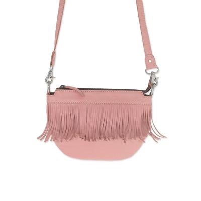 Fringed Petal Pink Leather Sling Handbag