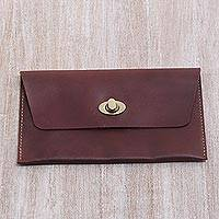Leather clutch wallet, 'Mahogany Amplop' - Dark Brown Leather Minimalist Clutch Wallet