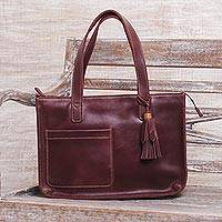 Leather tote bag, 'City Lines' - Handmade Dark Brown Leather Tote Shoulder Bag