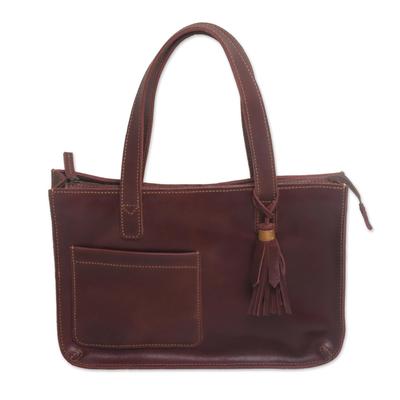 Handmade Dark Brown Leather Tote Shoulder Bag