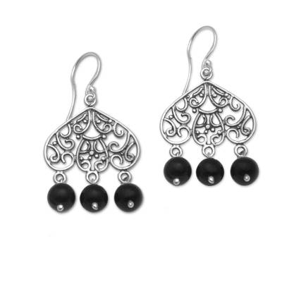 Onyx and Sterling Silver Chandelier Earrings from Bali