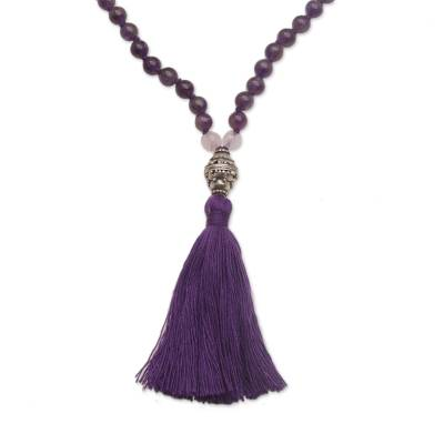 Amethyst and rose quartz pendant necklace, 'Meditative Evening' - Amethyst and Rose Quartz Pendant Necklace from Bali