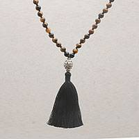 Tiger's eye and onyx pendant necklace, 'Meditative Evening' - Tiger's Eye and Onyx Pendant Necklace from Bali