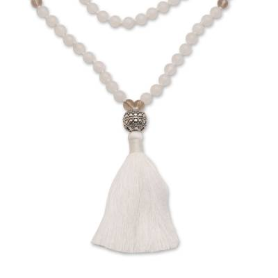 Moonstone and smoky quartz pendant necklace, 'Afternoon Meditation' - Moonstone and Smoky Quartz Pendant Necklace from Bali