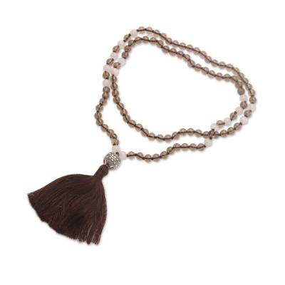 Smoky quartz and moonstone pendant necklace, 'Afternoon Meditation' - Smoky Quartz and Moonstone Pendant Necklace from Bali