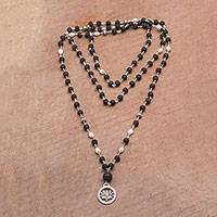Cultured pearl pendant necklace, 'Lotus Power' - Cultured Pearl and Lava Stone Pendant Necklace from Bali