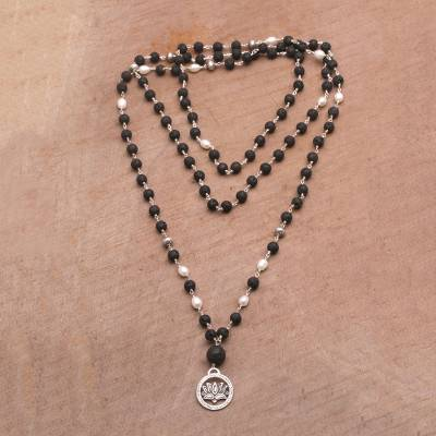 Cultured pearl and lava stone pendant necklace, 'Lotus Power' - Cultured Pearl and Lava Stone Pendant Necklace from Bali