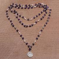 Amethyst and rose quartz long beaded pendant necklace, 'Lotus Power' - Amethyst and Rose Quartz Pendant Necklace from Bali