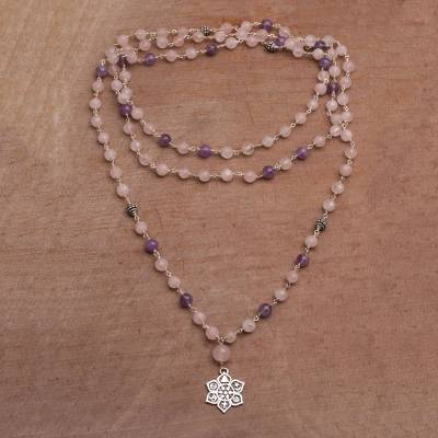 Rose quartz and amethyst long beaded pendant necklace, 'Unity in Meditation' - Floral Rose Quartz and Amethyst Pendant Necklace from Bali