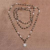 Labradorite and cultured pearl pendant necklace, 'Om in Bloom' - Labradorite and Cultured Pearl Om Necklace from Bali