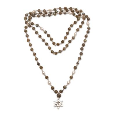 Labradorite and cultured pearl long beaded pendant necklace, 'Om in Bloom' - Labradorite and Cultured Pearl Om Necklace from Bali