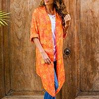 Rayon batik jacket, 'Daisy Cheer' - Long Orange Batik Floral Rayon Jacket from Indonesia