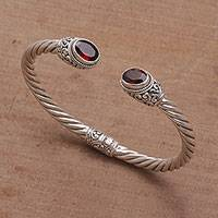Garnet cuff bracelet, 'Fiery Royalty' - Sterling Silver and Faceted Garnet Hinged Cuff Bracelet