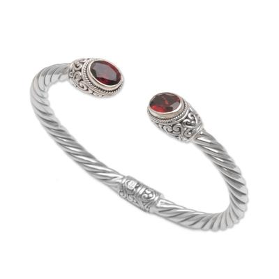 Garnet cuff bracelet, 'Fiery Royalty' - Sterling Silver and Faceted Garnet Hinged Cuff Bracelet