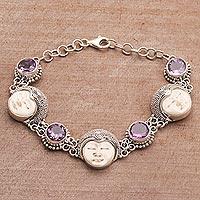 Amethyst link bracelet, 'Bond of Princehood' - Cultural Amethyst Link Bracelet from Bali