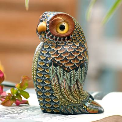 Polymer clay sculpture, 'Decorative Owl' (3.5 inch) - Colorful Polymer Clay Owl Sculpture (3.5 Inch) from Bali