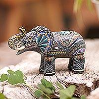 Polymer clay sculpture, 'Vibrant Elephant' - Handmade Polymer Clay Elephant Sculpture from Bali