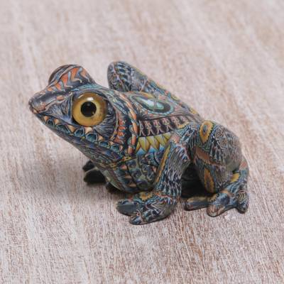 Polymer clay sculpture, 'Decorative Frog' (2.8 inch) - Colorful Polymer Clay Frog Sculpture (2.8 Inch) from Bali