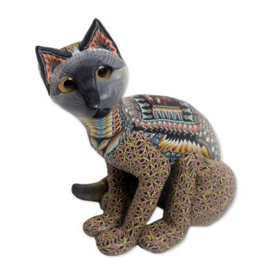 Handcrafted Polymer Clay Sculpture of a Cat from Bali
