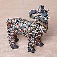 Polymer clay sculpture, 'Vibrant Ram' (small) - Colorful Polymer Clay Ram Sculpture (Small) from Bali