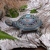 Polymer clay sculpture, 'Decorative Tortoise' (large) - Colorful Polymer Clay Tortoise Sculpture (Large) from Bali