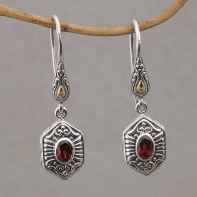 Gold accent garnet dangle earrings, 'Beacon Fire' - Handcrafted Bali Gold Accent Silver and Garnet Earrings