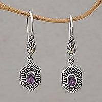 Gold accent amethyst dangle earrings, 'Beacon Fire'