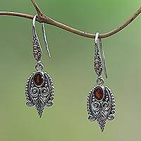 Gold accent garnet dangle earrings, 'Dewdrop Caress'