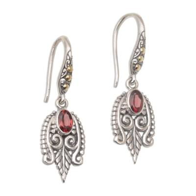 Gold accent garnet dangle earrings, 'Dewdrop Caress' - Balinese Sterling Silver and Garnet Gold Accent Earrings