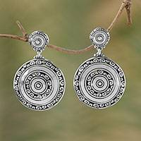 Sterling silver dangle earrings, 'Hidden Eden' - Circular Sterling Silver Dangle Earrings from Bali