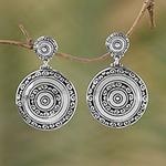 Circular Sterling Silver Dangle Earrings from Bali, 'Hidden Eden'