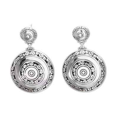 Sterling silver dangle earrings, 'Hidden Eden' - Circular Sterling Silver Dangle Earrings from Bali