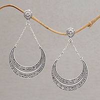 Sterling silver dangle earrings, 'Buddha Crescents' - Sterling Silver Crescent Dangle Earrings from Bali