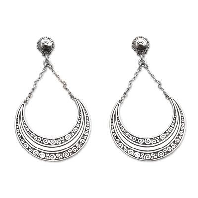 Sterling silver dangle earrings, 'Buddha Crescents' - Sterling Silver Crescent Dangle Earrings from Bali