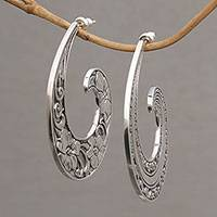 Sterling silver half-hoop earrings, 'Eden Curls' (large) - Sterling Silver Floral Half-Hoop Earrings (Large) from Bali