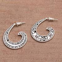 Sterling silver half-hoop earrings, 'Eden Curls' (1 inch) - Sterling Silver Floral Half-Hoop Earrings (1 Inch) from Bali