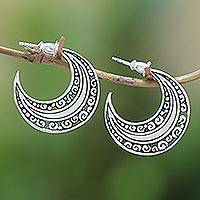 Sterling silver half-hoop earrings, 'Curling Crescents' - Sterling Silver Crescent Half-Hoop Earrings from Bali