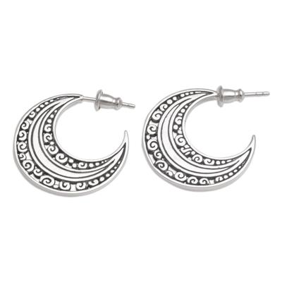 Sterling silver half-hoop earrings, 'Curling Crescents' - Sterling Silver Crescent Half-Hoop Earrings from Bali