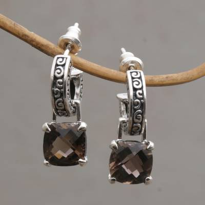 Smoky quartz dangle earrings, 'Buddha Hoops' - Smoky Quartz and Sterling Silver Dangle Earrings from Bali