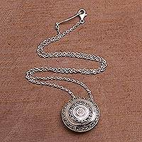 Sterling silver pendant necklace, 'Hidden Eden' - Circular Sterling Silver Pendant Necklace from Bali