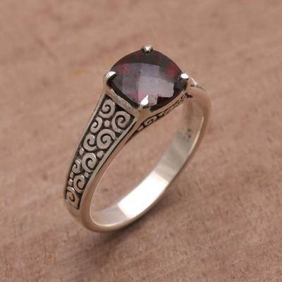 silver ring confetti gift - Garnet and Sterling Silver Cocktail Ring from Bali
