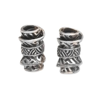 Sterling silver button earrings, 'Ancient Scrolls' - Sterling Silver Scroll Button Earrings from Bali