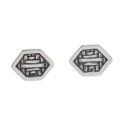 Cultural Sterling Silver Button Earrings from Bali
