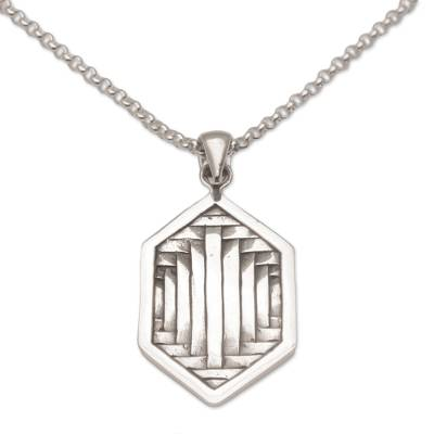 Sterling silver pendant necklace, 'Charming Bedeg' - Cultural Sterling Silver Pendant Necklace from Bali