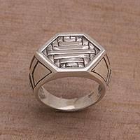 Sterling silver signet ring, 'Charming Bedeg'