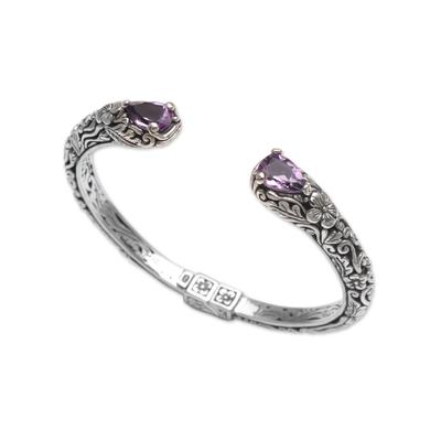 Amethyst cuff bracelet, 'Transcendent Forest' - Floral Amethyst and Silver Cuff Bracelet from Bali