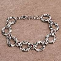Garnet link bracelet, 'Garden Chain'